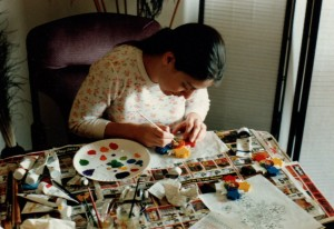 Tabatha Cicero painting a Rose Cross Lamen